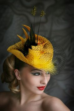 Yellow hat with feathers and veil | Evening hats by Anna Mikhaylova, via Behance