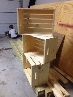 Using plain pine crates to make cute and easy book shelves