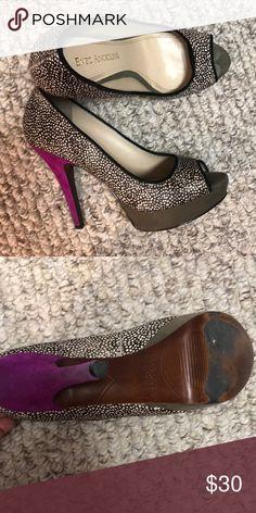 Cow hair printed heels Cow hair printed platform heels Enzo Angiolini Shoes Heels
