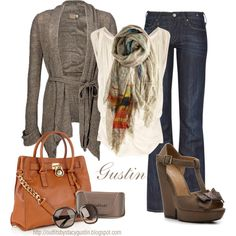 tan scarf, created by stacy-gustin on Polyvore