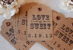 Vintage Love is Sweet Wedding Gift Tags personalized with your Date - kraft tags