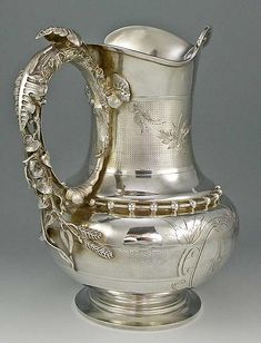 Gorham coin silver pitcher, with exceptional leaf form handle- c1862 (Britannia Silver)