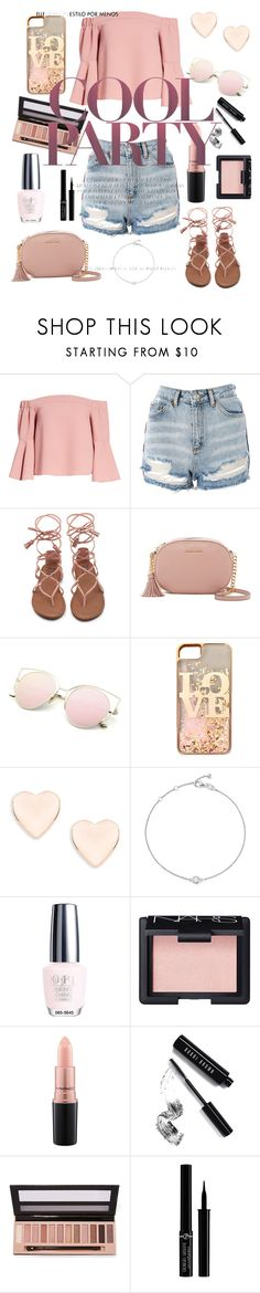 """""""Party Time"""" by nekonerdforever ❤ liked on Polyvore featuring Topshop, MICHAEL Michael Kors, claire's, Ted Baker, Bloomingdale's, OPI, NARS Cosmetics, MAC Cosmetics, Bobbi Brown Cosmetics and L.A. Girl"""