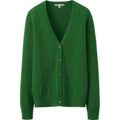 UNIQLO 100% Cotton V Neck Cardigan ($7.56) ❤ liked on Polyvore featuring tops, cardigans, sweaters, outerwear, jackets, v-neck tops, green v neck cardigan, cotton cardigan, colorblock cardigan and green cardigan