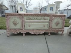 Love this idea~!  Cut the legs off a vintage buffet, repaint and use it as a bench at the foot of a bed...