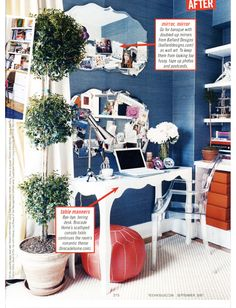 """Study corner of bedroom designed by David Netto for Teen Vogue - scan of """"After"""" page from the magazine"""