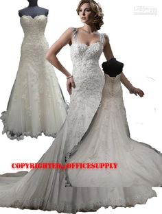 Wholesale 2012 New Elegant Sexy Strapless Sweetheart Hand Made Flower Lace Wedding Dresses MGN188,