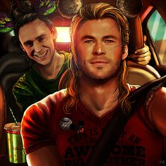 Back from Disneyland (2016)Present for Mllechimi who wanted a Thor and Loki selfie. I could draw whatever I  wanted to so, I went once again with a Disney themed art. ^^ (Photoshop CS6)您可以把它转发到微博或者乐乎轻微博上,但请您标明出处!谢谢!   ♥
