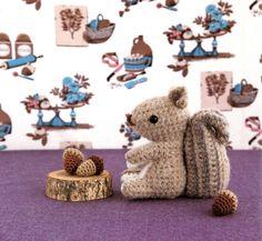 Squirrel and Acorn Amigurumi Plush Crochet Pattern PDF