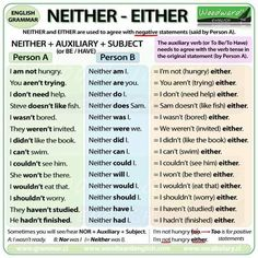 {NEITHER - EITHER Damit dein Studium ein Erfolg wird mit ZENTRAL-lernen. You are in the right place about Teacher Resources videos Here we offer you the most English Grammar Rules, Learn English Grammar, Grammar And Vocabulary, Grammar Lessons, English Phrases, English Language Learning, English Writing, English Study, English Words