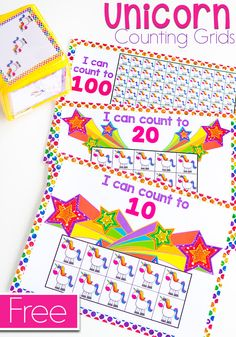 These free printable unicorn counting grids for preschool and kindergarten are a great way to practice counting skills with your students! The kids will love the fun unicorn math counters while working on one-to-one correspondence in your math centers. Perfect for using with your unicorn mini erasers! 10, 20 and 100 grids included, along with color and black/white. #countinggrid #mathgame #preschoolmath via @lifeovercs