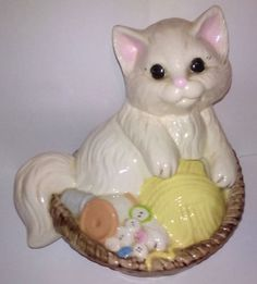 Vintage-Ceramic-white-Kitty-Cat-Cookie-Jar-Dowley-Canister-Home-Decor-Storage