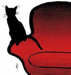 René Gruau - Chat Noir sur Fauteuil Rouge