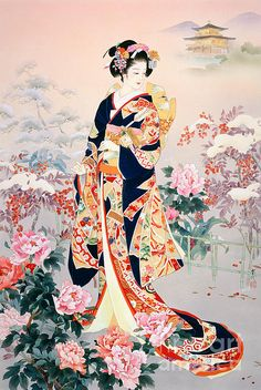 Geisha and flower illustration Art Geisha, Geisha Kunst, Geisha Drawing, Geisha Makeup, Art Chinois, Art Asiatique, Art Japonais, Japanese Geisha, Japanese Kimono