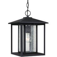 Sea Gull Lighting 62027 Hunnington 1 Light Outdoor Small Lantern Pendant Black Outdoor Lighting Pendants Lantern