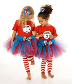 Tutu Skirt - Halloween or Birthday Costume - Red & Turquoise - Thing 1 or Thing 2 Single - 5-6 Youth Girl