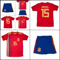 World Cup 2018 Spain Sergio Ramos Soccer Youth Jersey Kids Set T Shirt +  Shorts f977f4901