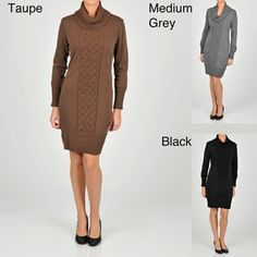 @Overstock - Contrasting inset cable knit highlights this chic sweater dress from Lennie for Nina Leonard. With long sleeves, this sophisticated dress is finished with a rubbed turtleneck, cuffs and hemline.http://www.overstock.com/Clothing-Shoes/Lennie-for-Nina-Leonard-Womens-Draped-Turtleneck-Sweater-Dress/6401416/product.html?CID=214117 $42.99