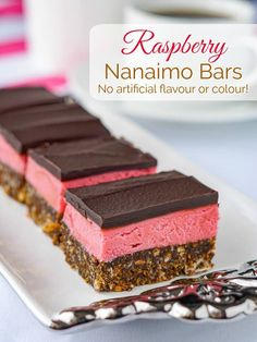 Raspberry Nanaimo bars. A delicious twist on a classic Canadian cookie bar treat. The have no artificial colours or flavours and they're no-bake too! #nobake #cookies #cookiebars #classic #canadian #nanaimo