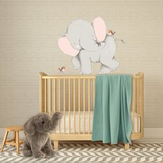 Baby Elephant Wall Decals for Boys Bed Room - for Sarfari Nursery or Jungle Nursery - Elephant Wall Sticker for Nursery - WB406 by wordybirdstudios on Etsy