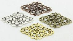 30 PC Four Color Hollow Filigree Flower Charm Connectors, Jewelry Making DIY, 24mm x 41mm $9.95