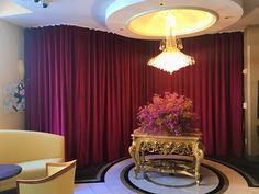 Lush velvet drapes in merlot red divide areas of a restaurant in The Orchard Hotel, San Francisco. Drapery Styles, Velvet Drapes, Lush, San Francisco, Divider, Restaurant, Curtains, Elegant, Red