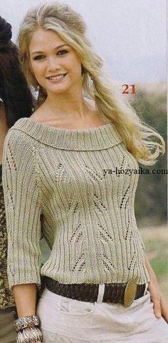Пуловер с круглым воротником спицами.