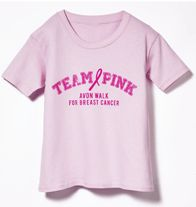 """Avon Walk Youth Pink T-shirt - You're never too young to show your support! Boys and girls can join the fight against breast cancer with this """"Team Pink"""" crew neck shirt. 100% preshrunk jersey knit cotton. Color: pink. Regularly $15.00, buy Avon Fundraising products online at http://eseagren.avonrepresentative.com"""