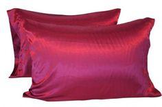 DreamKingdom - Satin Pillowcase, Burgundy Queen/Standard (Pack of 2)