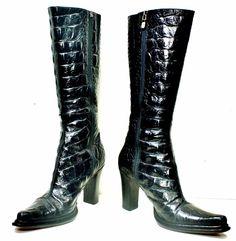 $498 Donald J. Pliner Black Croc Print Leather Fashion Mid-calf Boots sz 7 M VGC #DonaldJPliner #FashionMidCalf