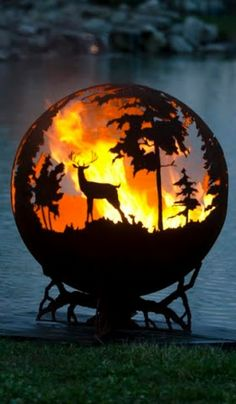 Up North Custom Outdoor Fire Pit - Hand Cut Steel Sphere