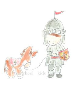 Children's Art Nursery Print Knight and His Horse by PinwheelKids, $20.00