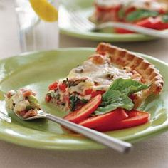 This quiche-like pie uses two of summer's showstoppers— tomatoes and basil–mixed with gooey mozzarella and ham for a combination of savory and sweet. This dish is perfect for an afternoon brunch or lunch outdoors. Recipe: Ham-and-Tomato Pie Egg Recipes, Pork Recipes, Cooking Recipes, Recipies, Dinner Recipes, Entree Recipes, Cooking Ideas, Fresh Tomato Recipes, Vegetable Recipes