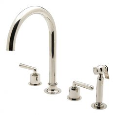 Henry Three Hole Gooseneck Kitchen Faucet, Metal Lever Handles and Spray — Products | Waterworks