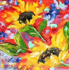 Original oil painting Sunflowers still life abstract impressionism fine art impasto by Karen Tarlton