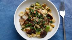 Orecchiette with Mushrooms, Leeks & Almonds. The almond oil in this recipe is so easy to make and also perfect for salad dressings.