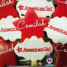 """Icing On Top Bake Shop (@icingontopbakeshop) on Instagram: """"American Girl cookies for Camilah! #icingontopbakeshop #decoratedcookies #americangirl"""""""