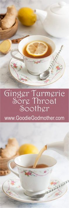 A natural caffeine-free way to sooth a sore throat, Ginger Turmeric Sore Throat Soother uses fresh ginger, fresh turmeric, and honey to help you feel better Throat Soothers, Sore Throat Tea, Smoothie Popsicles, Smoothies, Alcohol Detox, Natural Detox, Au Natural, Natural Healing, Detox Recipes