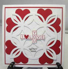 "Cross My Heart with the Lattice Bigz Die and Hearts a Flutter Framelits  - - The top white layer is 4"" square.  The red layer underneath is 4 1/8"" square; and the card itself is 4 1/2"" square.    •emboss Polka Dots on the 4"" square?   •To make an envelope for this card, cut an 8"" square of DSP or c/s and score it with the Diagonal plate at 3 5/8"" in each direction."