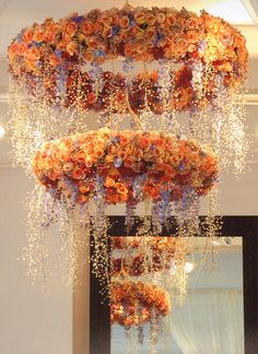 Gorgeous floral chandelier options for reception decor x Wedding Reception Design, Wedding Reception Decorations, Wedding Designs, Wedding Ideas, Lustre Floral, Floral Wedding, Wedding Flowers, Flower Chandelier, Hanging Flowers