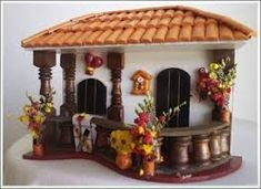 Silvia Solchaga's media content and analytics Clay Houses, Ceramic Houses, Bed Frame Design, Clay Wall Art, Magic House, Vitrine Miniature, Decorated Wine Glasses, Mini Doll House, Tile Crafts