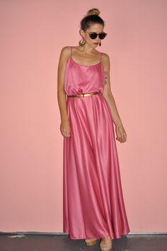 Vintage 70s Pink Bubble Gum Disco Grecian by WhiteCityVintage
