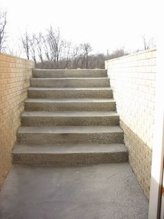 Outside Stairs Out Of Basement To Main Level. Walk Up Basement Basement  Flat, Basement