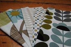 5 Pieces Orla Kiely Fabric 25x25cm Squares Cloud Sweet Pea Multi Stem Flower