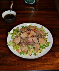 Asian Pork Noodle Salad with homemade dressing {recipe}