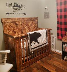 Rustic Baby Cribs, Wooden Cribs, Rustic Baby Nurseries, Baby Boy Nurseries, Rustic Crib, Modern Nurseries, Toddler Boy Room Decor, Baby Boy Rooms, Baby Room Decor