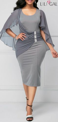 91302fb71e Grey Cape Shoulder Back Slit Sheath Dress. Casual DressesWomen s Fashion  DressesLadies DressesElegant ...
