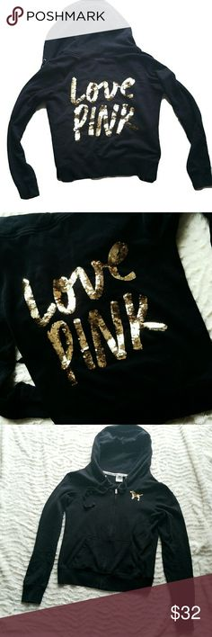 EUC! VS PINK GOLD SEQUIN BLACK ZIP UP HOODIE! This VS goodie has been well taken care of.  No stains, fading, holes nor missing sequins.   *SIZE SMALL *OUTSIDE POCKETS PINK Victoria's Secret Sweaters