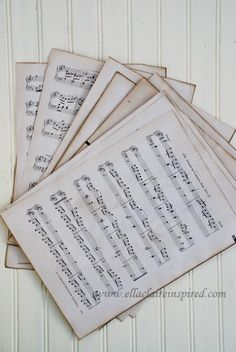 {Ella Claire}: How to Make New Sheet Music Look Old...I'm thinking framed art!