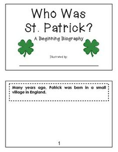 """Sample student book from:  THE LUCK O' THE LEARNING {ST. PATRICK'S DAY LITERACY FUN} - This packet includes a song for shared reading, a """"Beginning Biography"""" about St. Patrick, a """"Making Words"""" activity for a phonics connection, and a themed word search. TeachersPayTeachers.com  (18 pages, $2) St Patricks Day Crafts For Kids, St Patrick's Day Crafts, Holiday Crafts, St Patrick Biography, Teaching Kindergarten, Teaching Ideas, St Patrick's Day Costumes, Making Words, Catholic Kids"""
